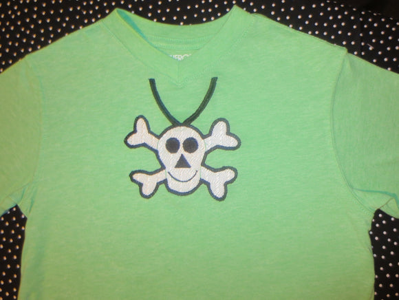 Skull Necklace Embroidery File  Crossbones Pirate Theme Digital Design
