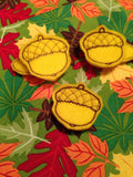 Acorn Applique and Felties.  Fall embroidery design.  In the Hoop felties and clip covers.