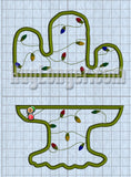 Split Cactus Digital Embroidery File Christmas design Applique