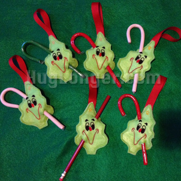 Christmas Tree Candy Cane or Pencil Holder Onament In The Hoop digital files