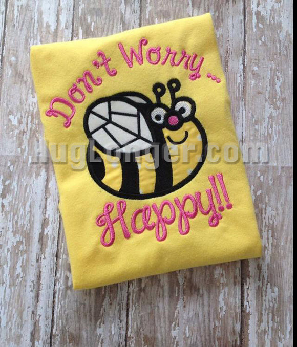 Happy Bee Applique Digital File for your embroidery sewing machine