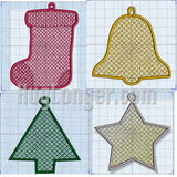 Free Standing Lace In The Hoop Ornaments digital files for embroidery machine.