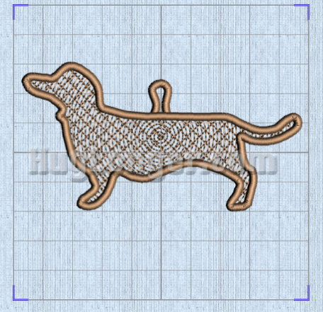 Free Standing Lace In The Hoop Dachshund/Weiner Dog Ornament Digital Design File for embroidery macine