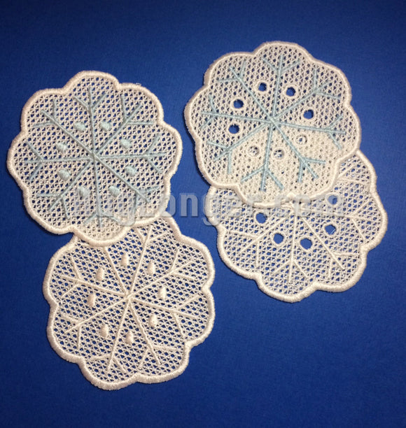 Free Standing Lace Snowflake Coasters