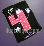 Silly Number Four Applique Digital Embroidery File