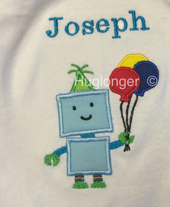 Robot Applique digital embroidery files birthday applique