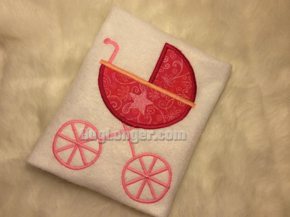 Baby Pram Applique embroidery file