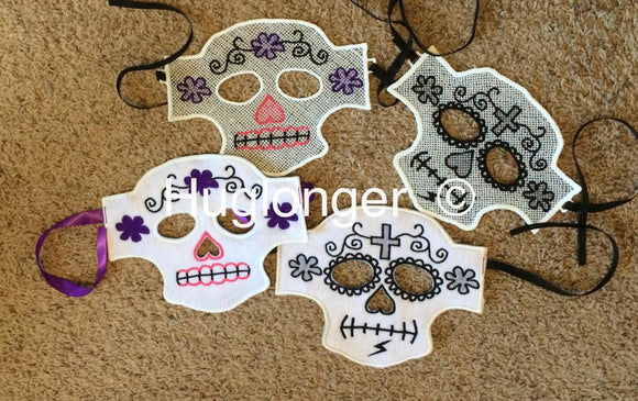 Free Standing Lace and Felt version Sugar Skull Masks digital files