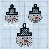 Free Standing Lace Snowman Jewelry Embroidery files