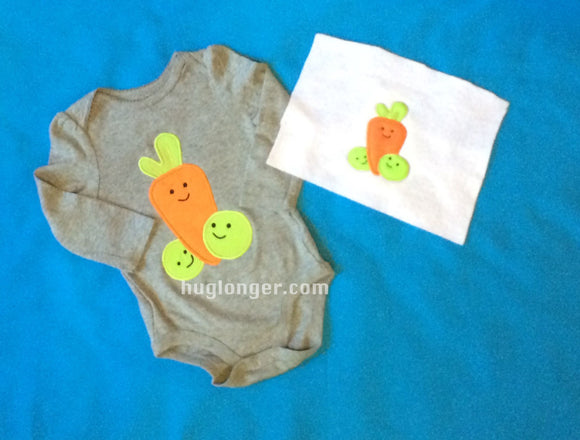 Peas N Carrot Applique digital embroidery pattern
