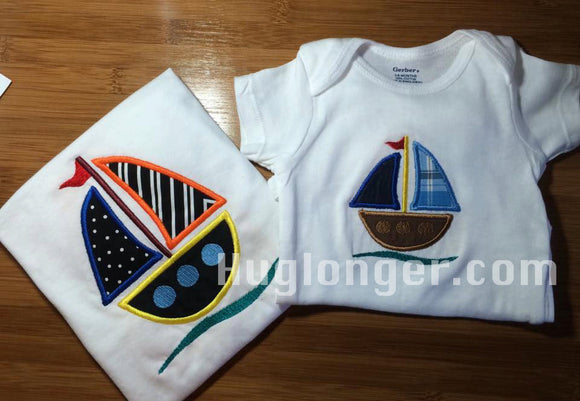 Sailboat Applique Embroider file