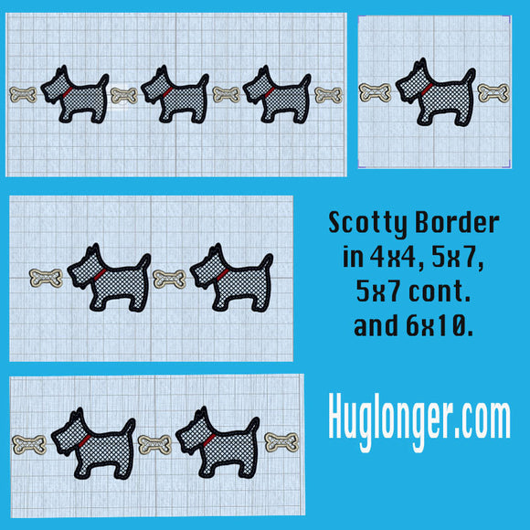Scotty Dog Border digital embroidery files