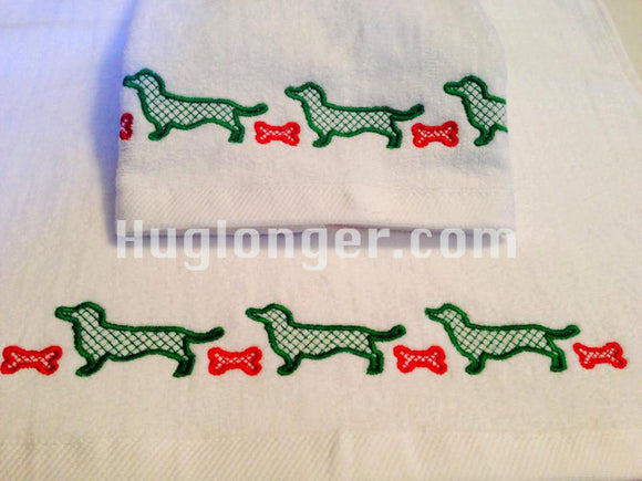 Dachshund Border embroidery file