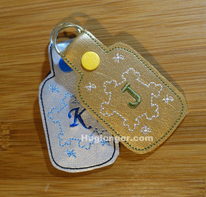 ITH Snowflake Key Fob embroidery file