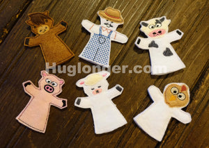 ITH Farm Animal Finger Puppets embroidery file