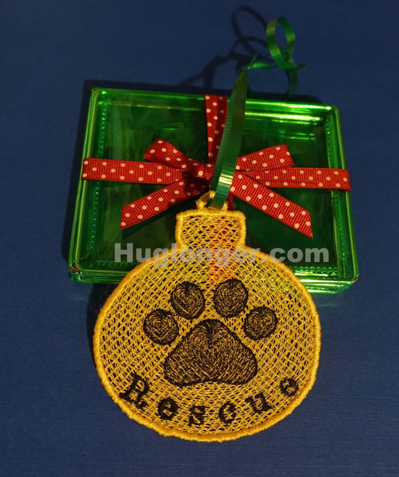 FSL Paw Ornament Embroidery File Hug Longer