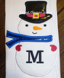 Applique Snowman Monogram Frame embroidery files