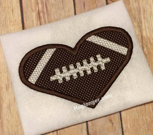 Applique Heart Football embroidery file