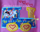 Applique Valentine Day Train embroidery file