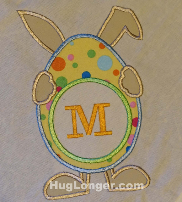 Applique Bunny Monogram Frame Embroidery File HL1002