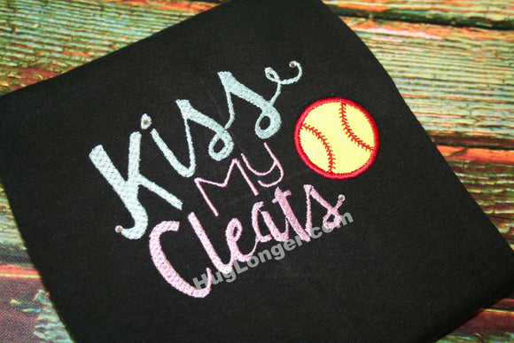 Applique Kiss My Cleats embroidery file HL1008