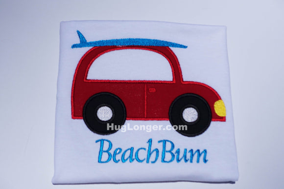 Applique Surfer Buggy embroidery file HL1026 Beach Car Surfboard Surfer Car