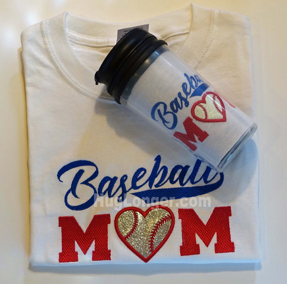 Applique Baseball Mom embroidery file HL1007