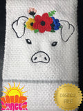 Embroidered Pig With Flowers HL5789 embroidery files