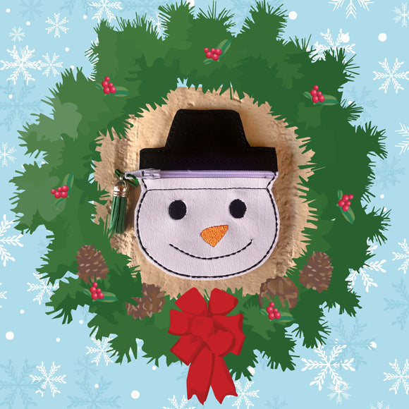 ITH No Flip Snowman Zip HL5720 embroidery file