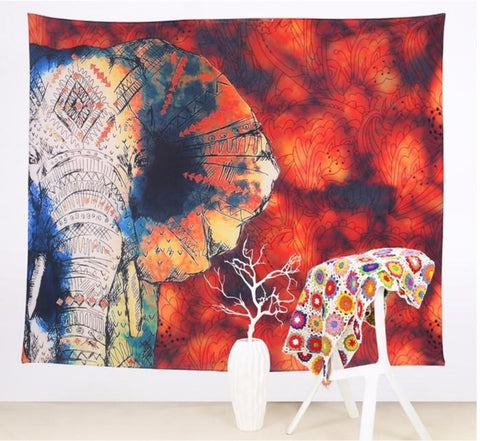 Bathing in the Sunset Elephant Tapestry