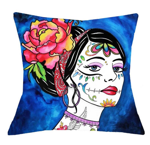 Flowery Skull Cushion Covers