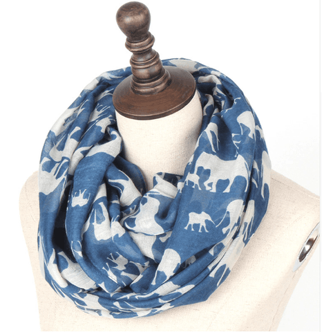 Gorgeous Blue Elephant Long Scarf