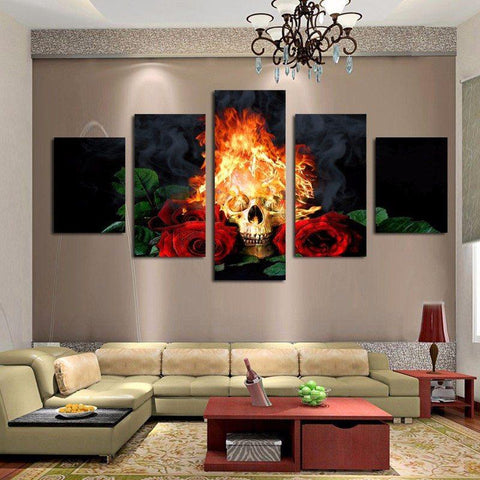 Skull And Roses Canvas Art
