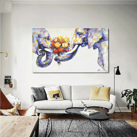 Elephant Lovers Oil Painting Canvas Art