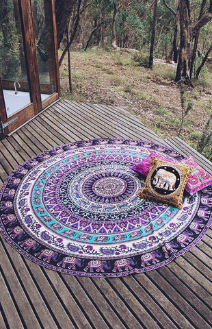 Floral Silky Elephant Tapestry