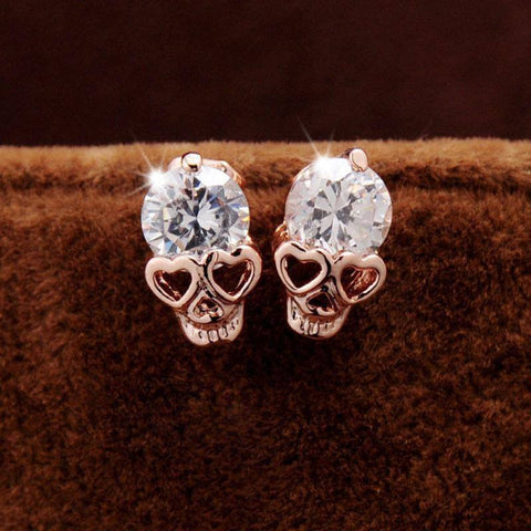 Heart Shaped Skull Stud Earrings