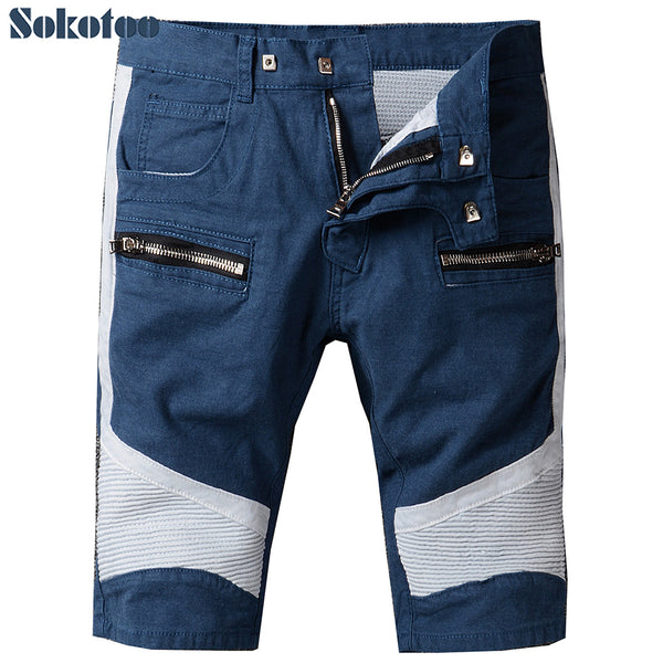 b8cce7bc246 Sokotoo Men s summer blue white patchwork biker jeans for motorcycle Casual  knee length pleated cotton shorts