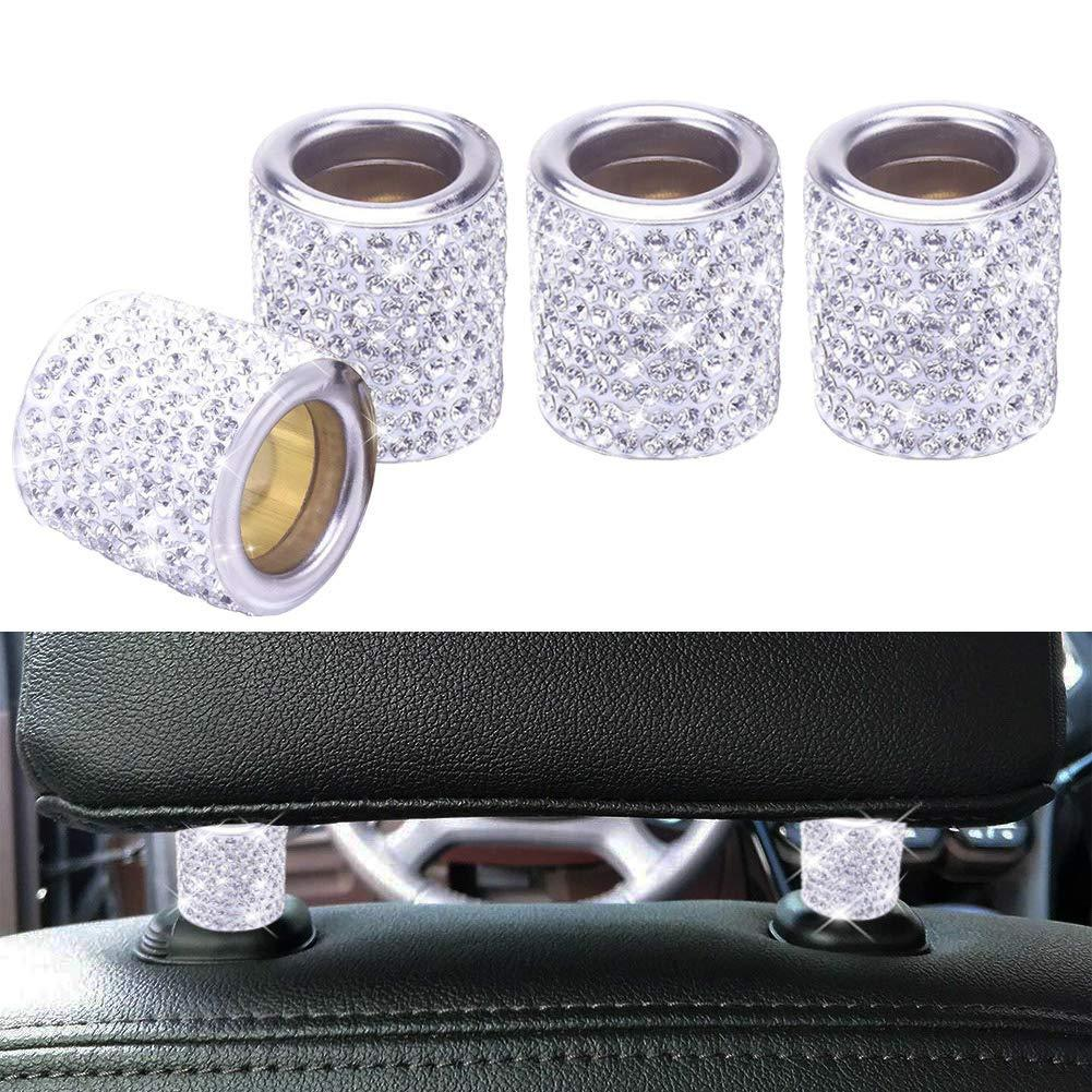 SWAROVSKI CRYSTAL Car Headrest Rings Interior Decor - 4 Pack White