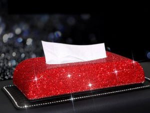 Swarovski Crystal Leather Tissue Box Holder