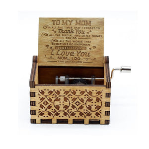 Love Mom ( Daughter ) - Engraved wooden music box