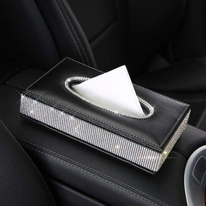 High quality Swarovski Crystal Leather Tissue Box Holder