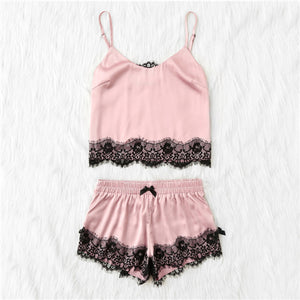 Pink Strap Lace Top & Shorts Pajama Set