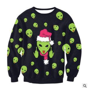 Alien Face Ugly Christmas Sweater