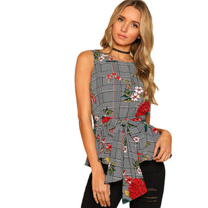 SHEIN Self Belted Floral And Plaid Shell Top