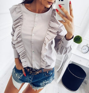 LDZHPS 2018 spring Women New Fashion Blue Striped Slim Button Tops
