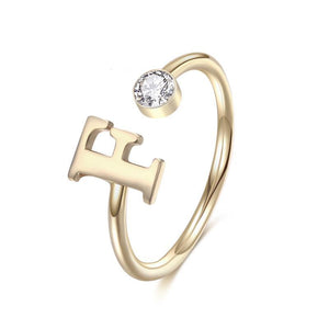 PERSONAL BIRTHSTONE LETTER RING