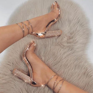 Rhinestone Ankle Strap Super High Heel