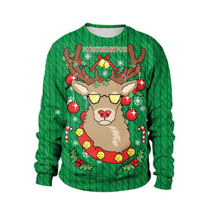 3D Graphic Print Reindeer Christmas Sweatshirt