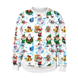 Santa Claus Cartoon Style 3D Ugly Christmas Sweater