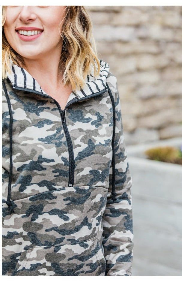 Camo and Stripes Half Zip Hoodie (Ready to Ship) (4763775991897)